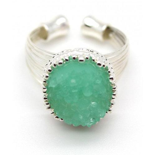 Green Druzy Ring