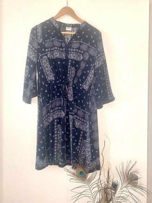 Paisley pattern 3/4 dress - Tunic (Navy and White)
