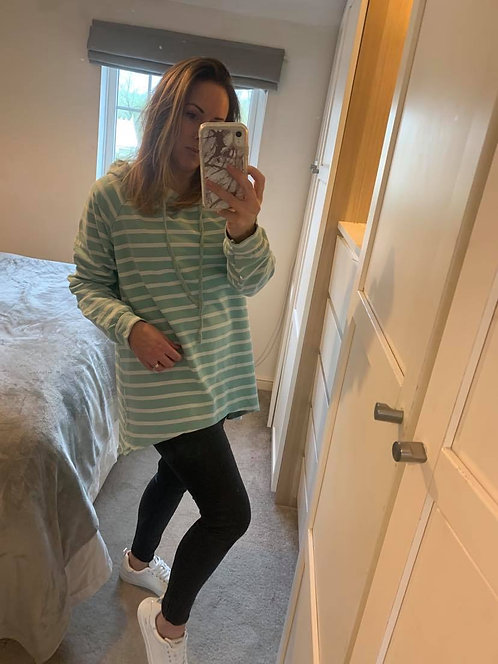 Casual stripe hooded top -Mint/wht