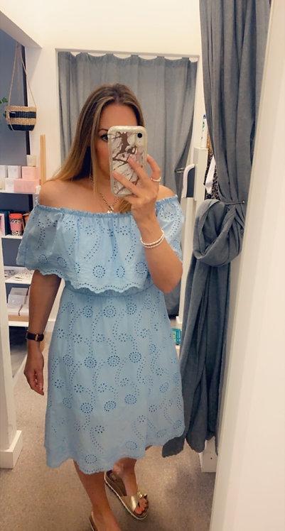 Borderie  Bardot dress x3 cols - Blue