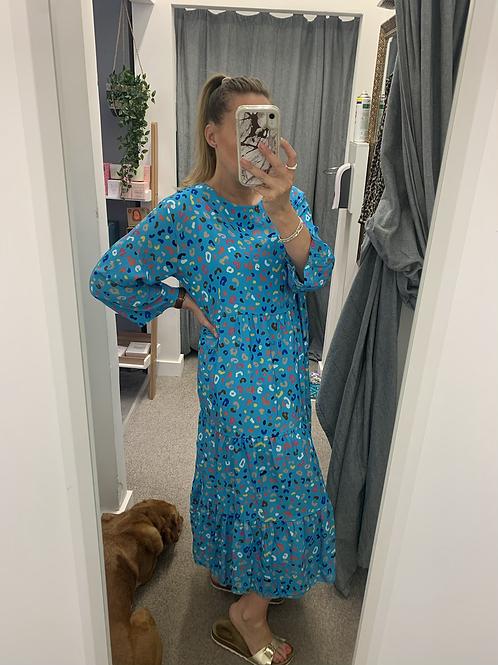Colour pop Tiered maxi dress- blue