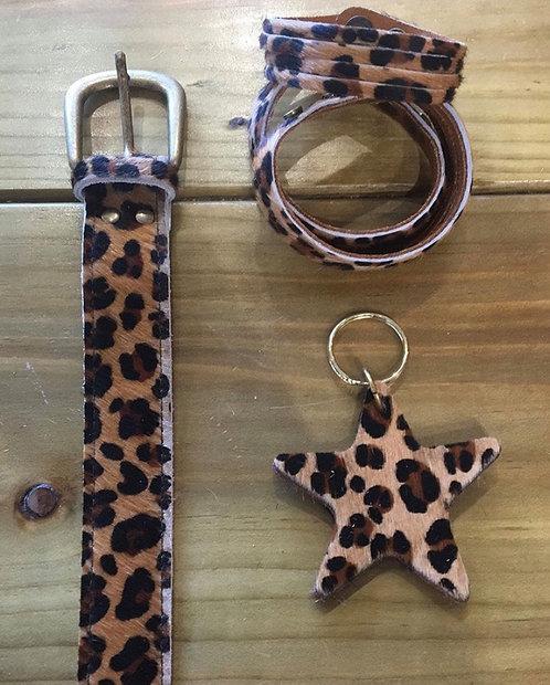 Leopard belts - Pattern cow hide