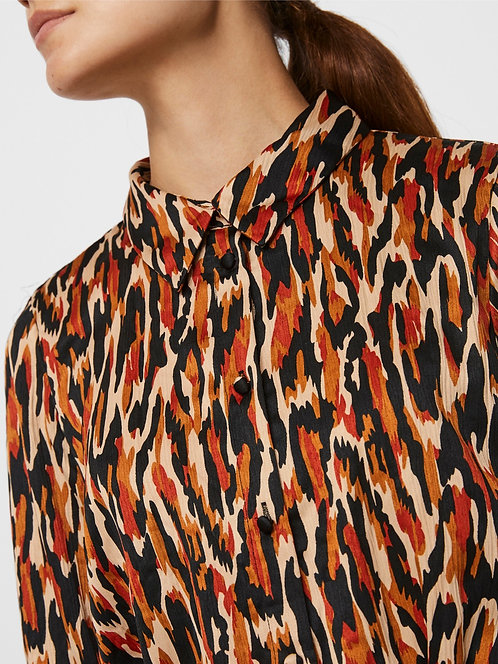 Printed abstract shirt dress.