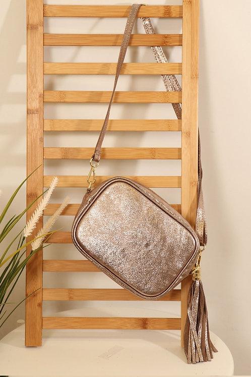 Pewter Leather tassle bag- Metallic