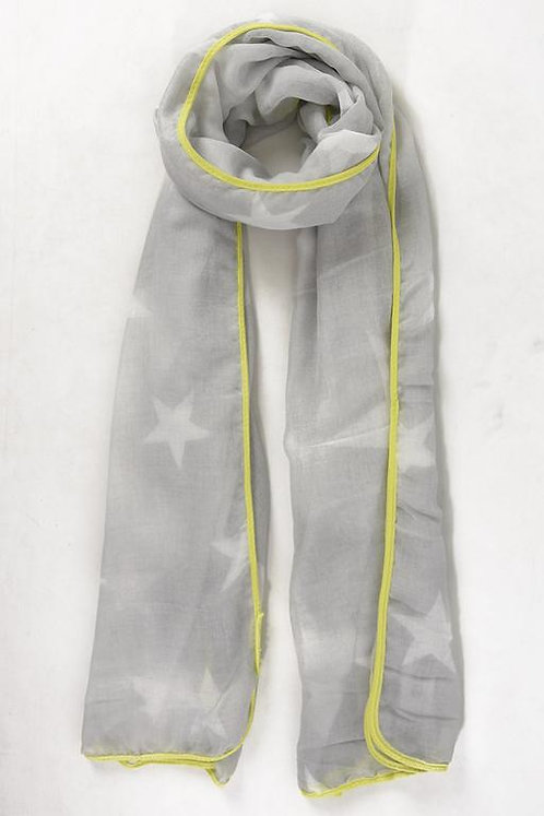 A light grey scarf with mottled stars and a neon yellow trim.