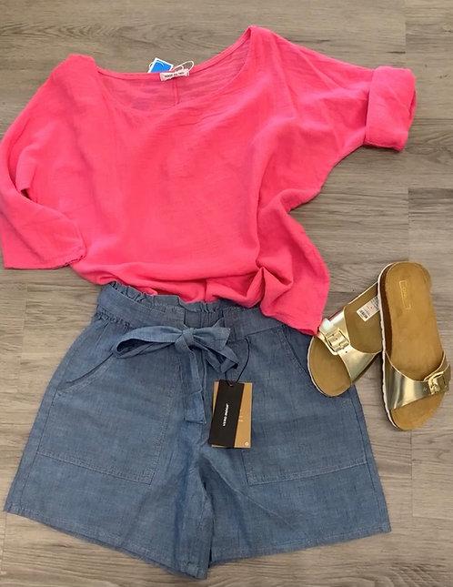 Scoop neck linen top - hot pink