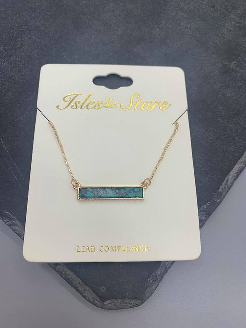 Green Marble rectangle necklace- Gold