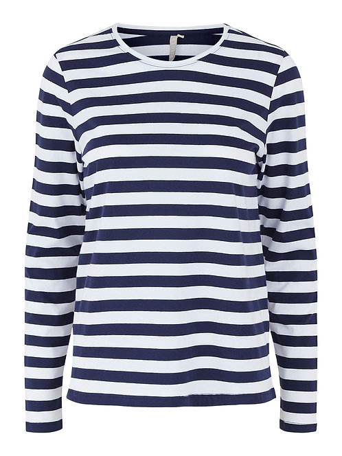 NAVY AND WHITE STRIPE LONG SLEEVE TOP