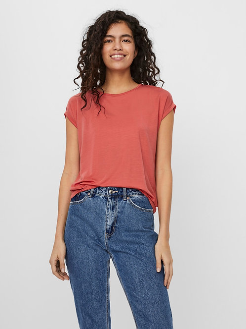 AVA Jersey ss top -Spiced coral