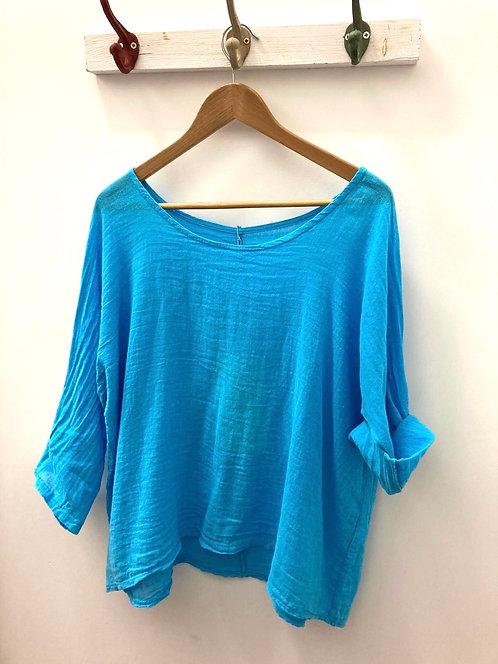 Scoop neck linen top - Turquoise