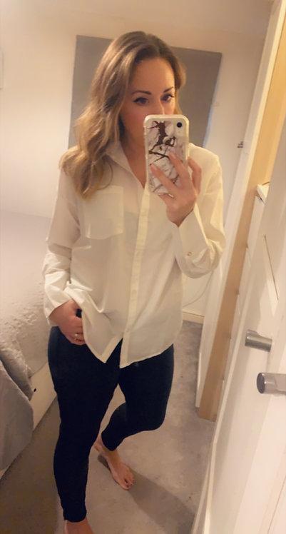 White shirt- gold button trim