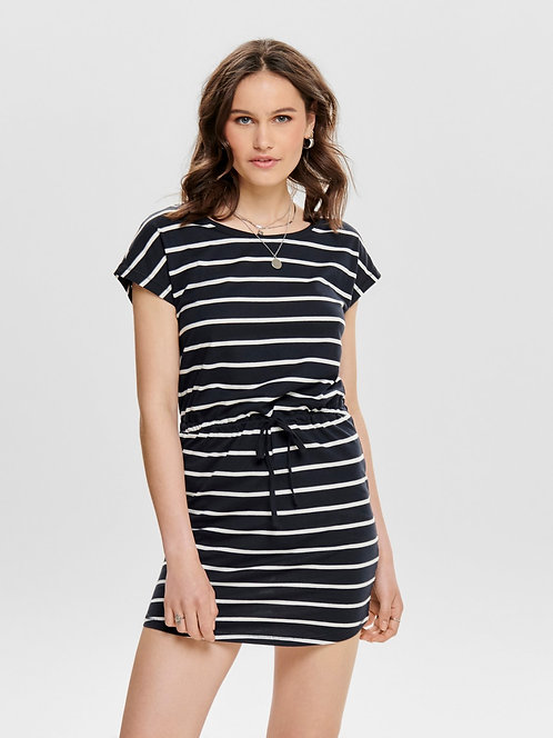 MAY S/S COTTON DRESS - STRIPE navy