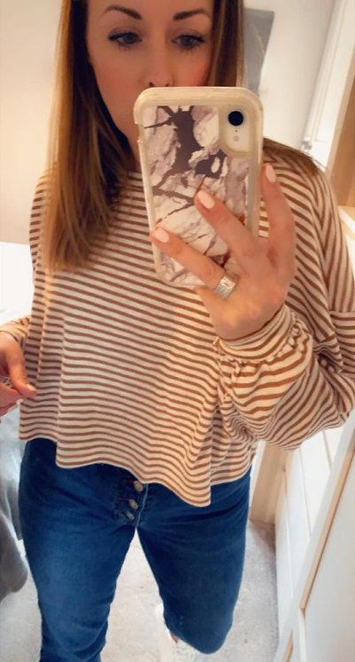 Gloria - thin stripe box LS top (TOAST STRIPE)