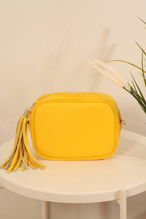 Yellow Leather tassle bag