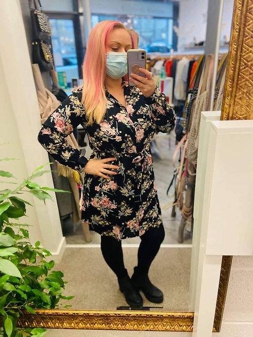 Floral woven shirt dress