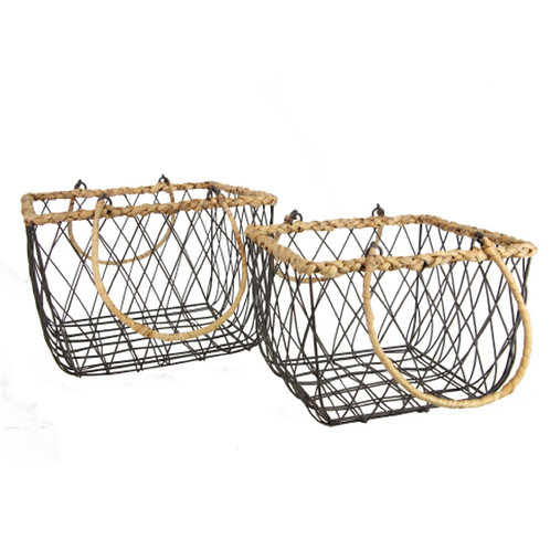 Wire Basket 35cm - Square/Rope Trim