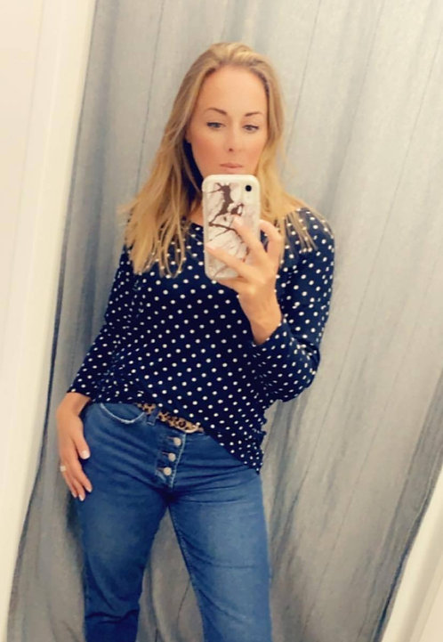 Polka dot fine knit Top