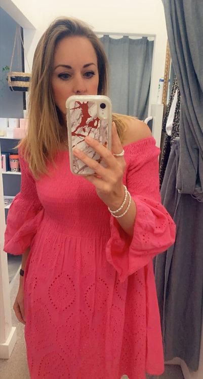 Off shoulder hot pink dress