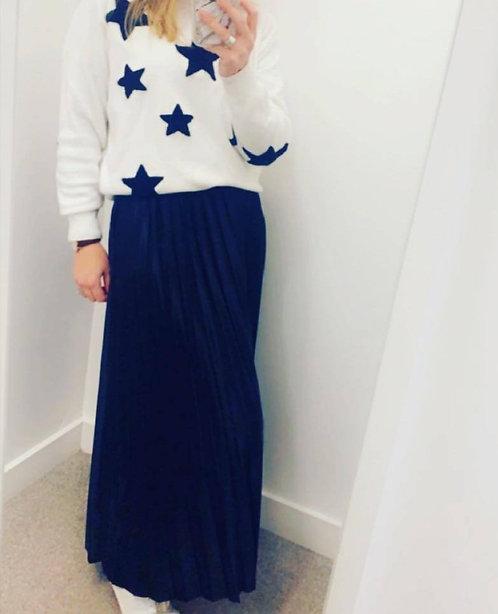 Pleated Maxi skirt - blk