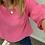 Thumbnail: Scoop neck linen top - hot pink