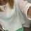 Thumbnail: Linen 1/2 sleeve top - white