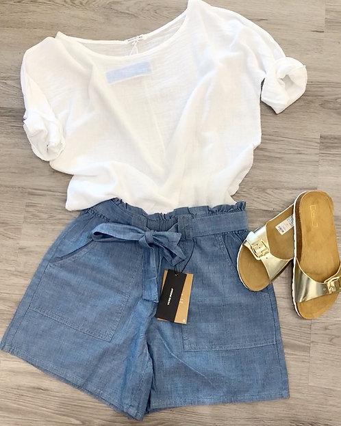 Linen 1/2 sleeve top - white