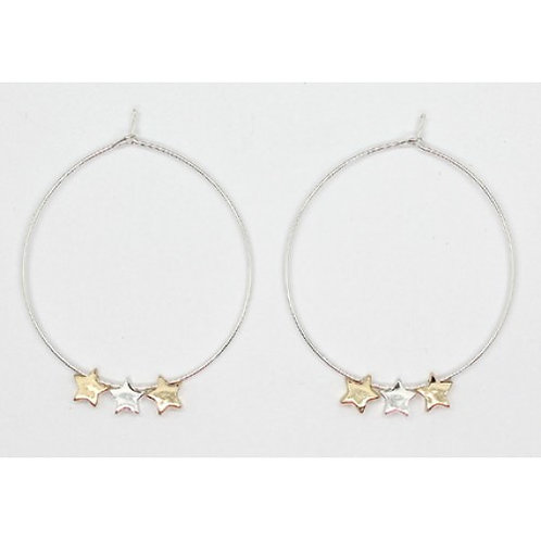 Hoop with 3 stars - Silver colour