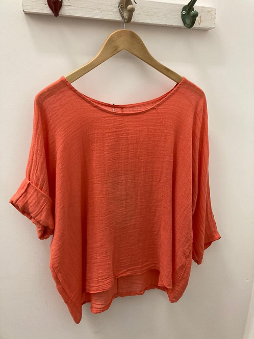 Scoop neck linen top - orange