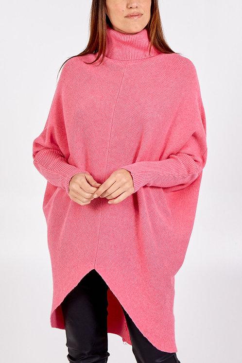 Roll neck v front jumper-dress
