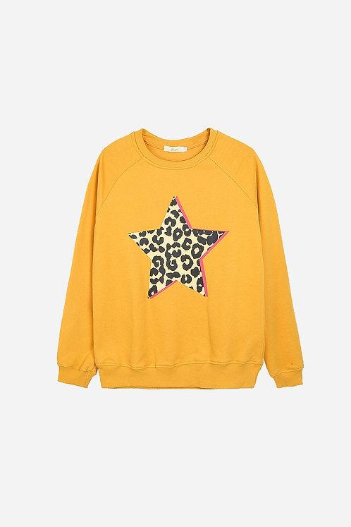 Animal print star sweater