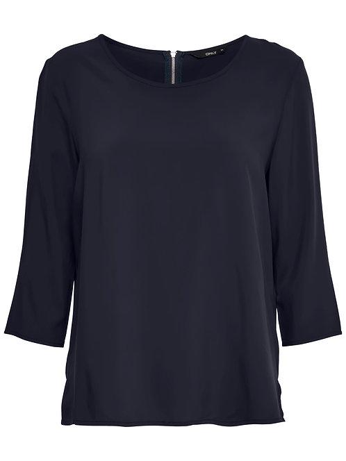 Woven 3/4 slv blouse, back zip detail - Navy