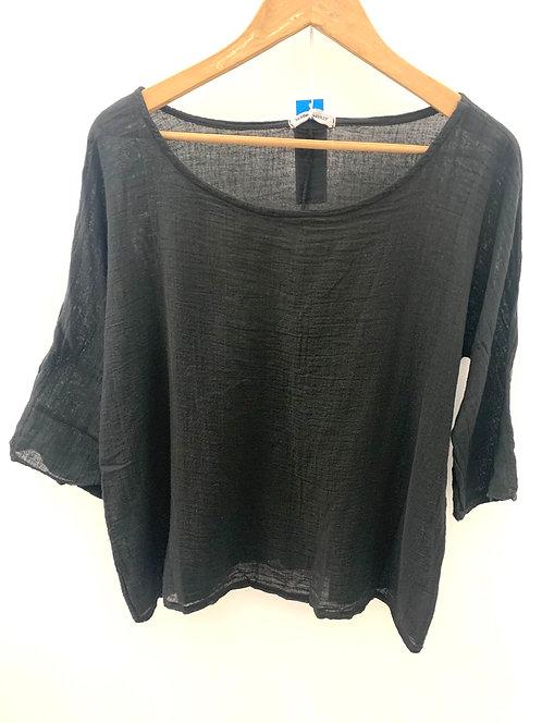 Scoop neck linen top -Black