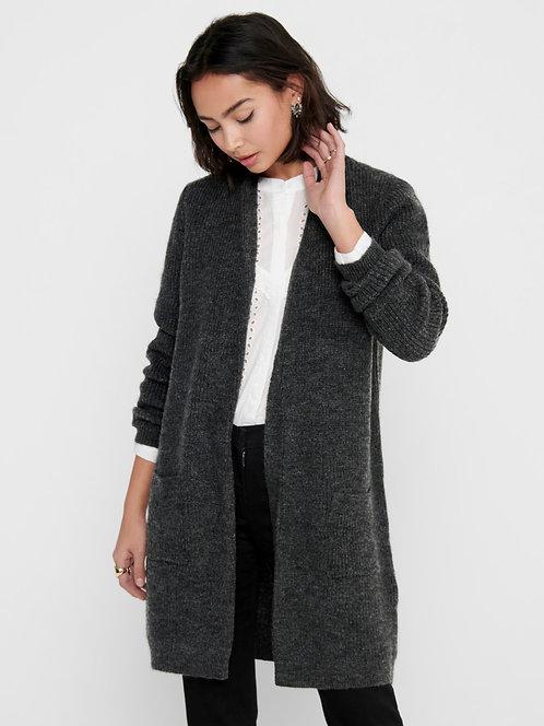 Charcoal -Rib knit cardigan