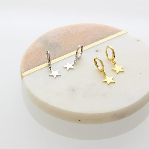 Nolan Hoop and star earrings - Silver or Gold