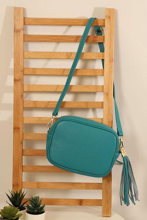 Turquosie Leather tassle bag