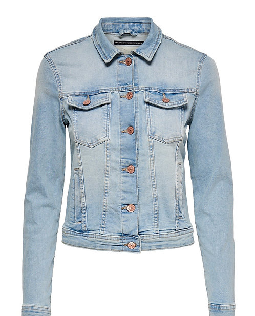 LIGHT WASH DENIM JACKET WITH STRETCH