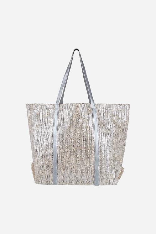 Metallic Rattan Tote Bag