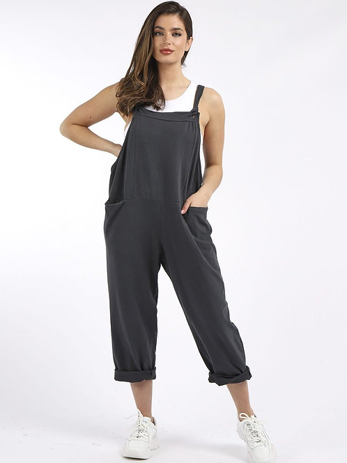 Cotton dungarees - charcoal grey