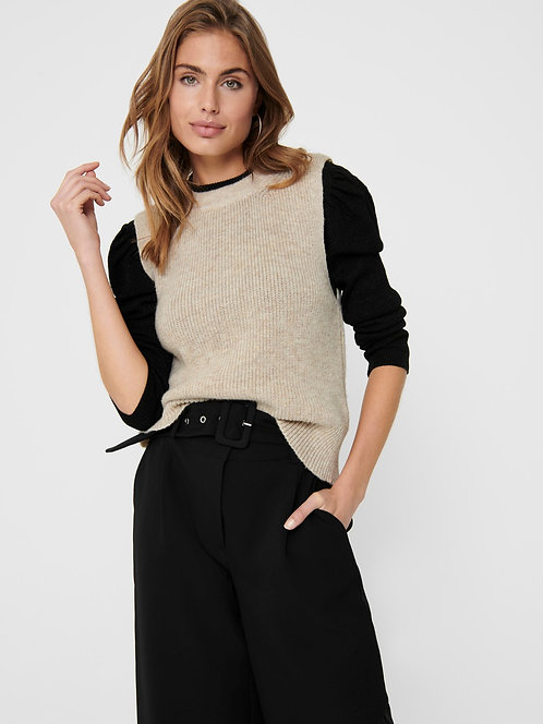 Paris Knitted Vest Top -Stone