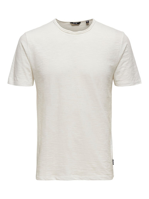 WHITE FITTED TEE IN MELANGE