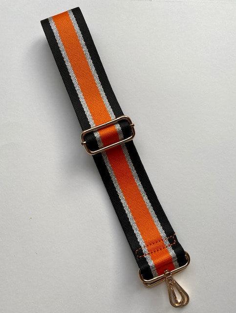 Orange, black and silver Met - Bag Strap