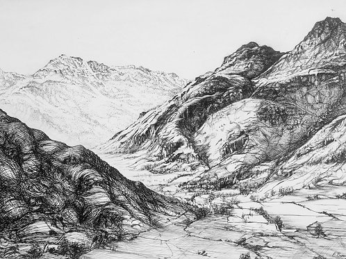 Langdale Pikes - Ink on canvas