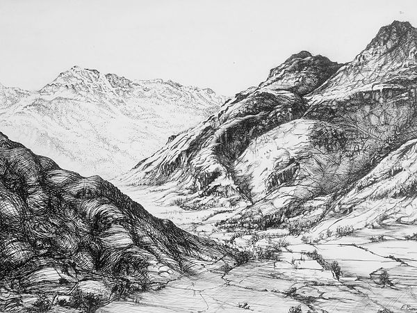 drawing of Langdale Pikes