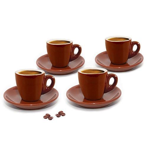 Set of 4 Brown Espresso Cups