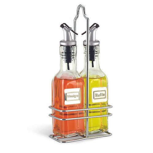 Oil & Vinegar French Labeled Cruet Set with Caddy