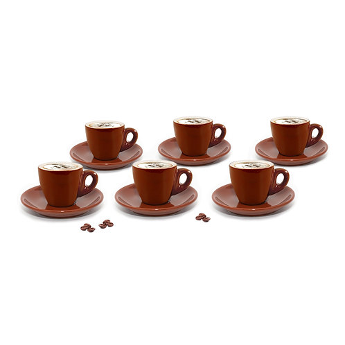 Set of 6 Brown Cappuccino Cups