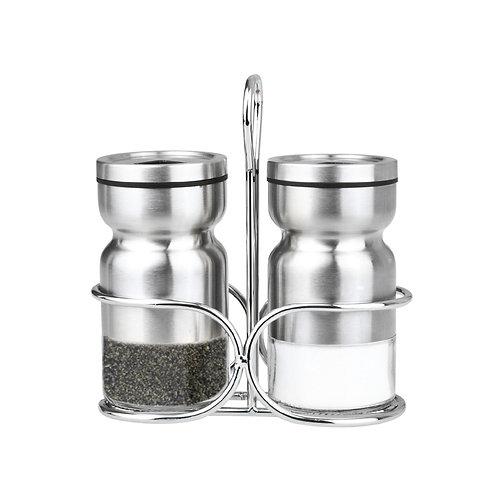 Ensemble sel, poivre ou épices avec support