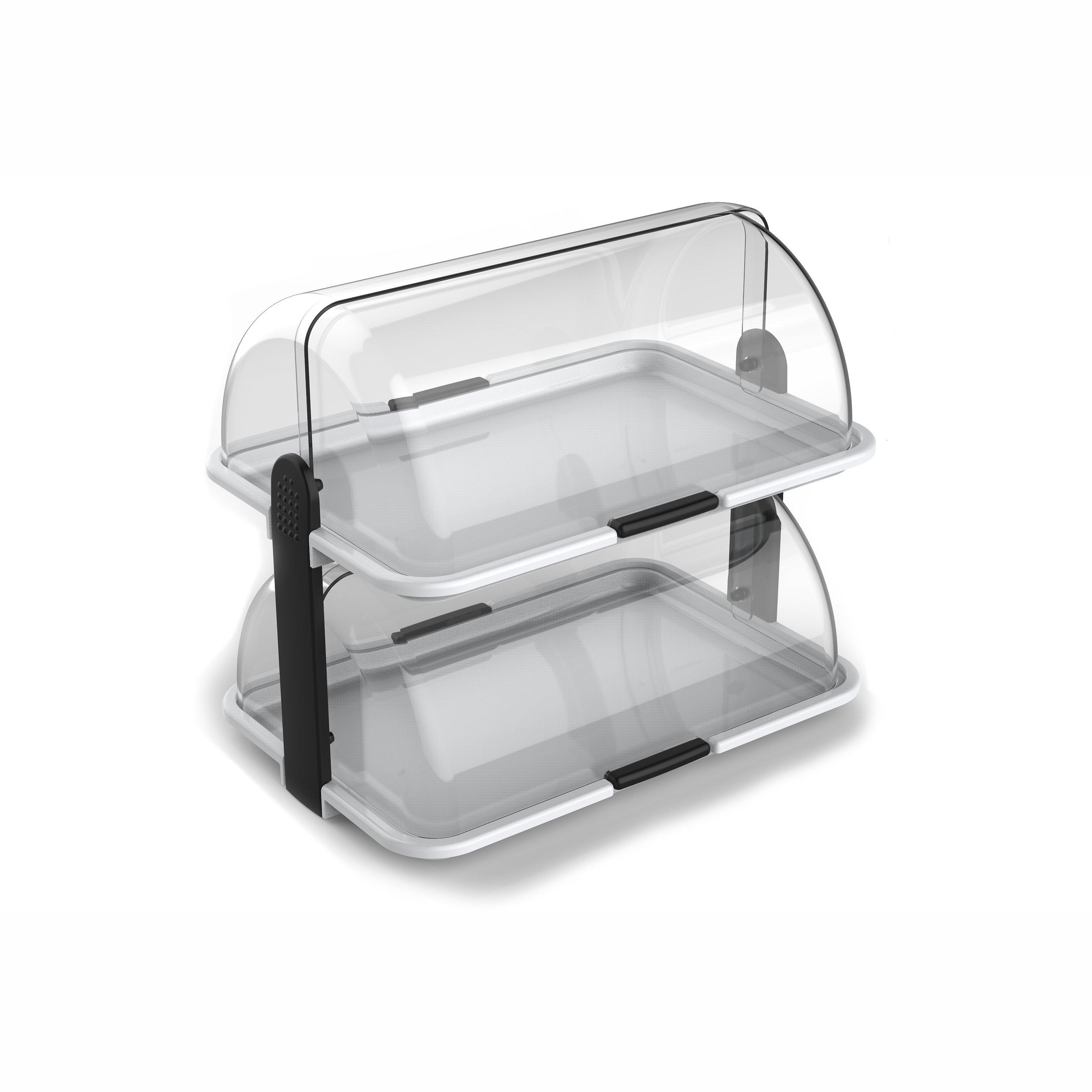 INOX KITCHENWARE   Double-Decker Polybox Countertop Bakery Display ...