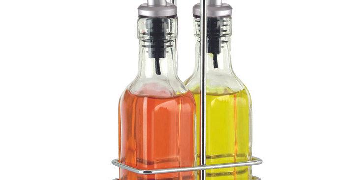 Ensemble bouteilles huile et vinaigre avec support