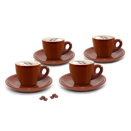Set of 4 Brown Cappuccino Cups
